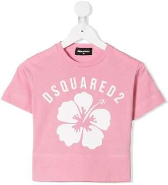 DSQUARED2 hibiscus logo crop top