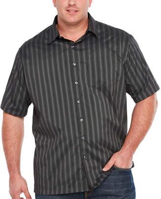 Van Heusen Short Sleeve Non-Iron Polyester Yarndyes Button-Front Shirt-Big & Tall