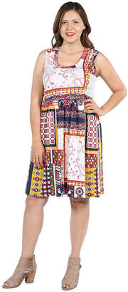 24/7 Comfort Apparel 24Seven Comfort Apparel Tara Multicolor Patchwork Dress - Plus