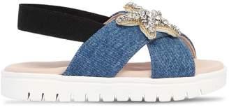 Crystal Embellished Denim Sandals