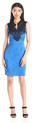 Buffalo David Bitton Women's Keanna Faux Suede Bodycon Dress with Lace Detail $81.91 thestylecure.com