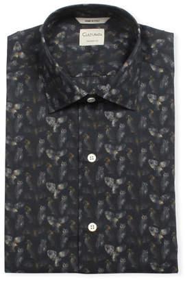 Culturata Men's Tailored Fit Owl-Print Super-Soft Dress Shirt