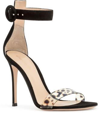 Gianvito Rossi Portofino black suede leopard plexi sandals