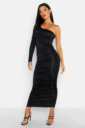 One Shoulder Long Sleeve Dress - ShopStyle Australia