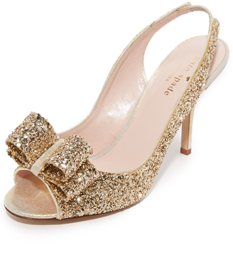 Kate Spade New York Charm Glitter Slingback Sandals $325 thestylecure.com