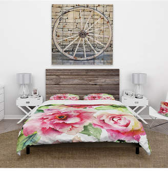Gerber Design Art Designart 'Roses And Flowers Watercolor' Country Duvet Cover Set - Queen Bedding