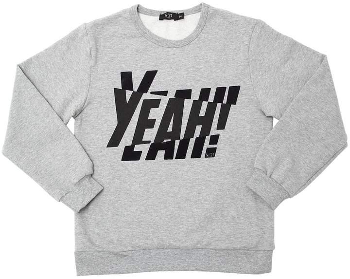Flocked Printed Cotton Sweatshirt