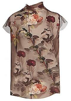 Dries Van Noten Women's Printed Short-Sleeve Sheer Silk Tulle Blouse