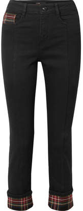 Maje Tartan-paneled Cropped High-rise Straight-leg Jeans - Black