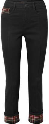 Maje Tartan-paneled Cropped High-rise Straight-leg Jeans - Black