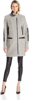 Vince Camuto Outerwear Women's Boiled Wool Coat with Faux Leather Trim