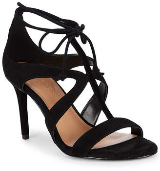 Halston Cut-Out Leather Ankle Strap Sandal