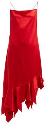 Marques Almeida Marques'almeida - Asymmetric Silk Satin Midi Dress - Womens - Red