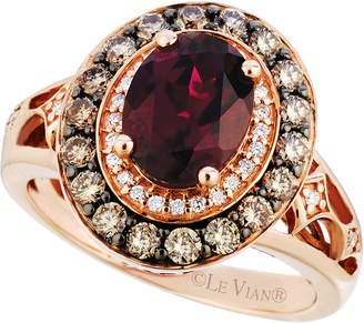 LeVian Le Vian Raspberry Rhodolite Garnet (2 ct. t.w.) and Diamond (3/4 ct. t.w.) Ring in 14k Strawberry Rose Gold, Created for Macy's