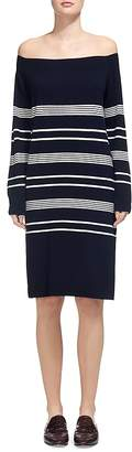 Whistles Rae Bardot Off-the-Shoulder Stripe Sweater Dress $269 thestylecure.com