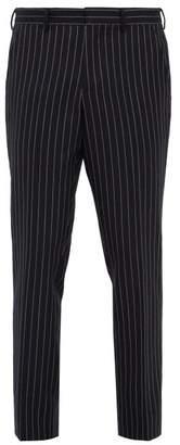 Burberry Chalk Striped Wool Twill Trousers - Mens - Navy Multi