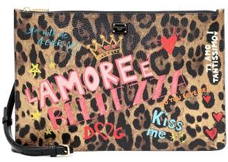 Dolce & Gabbana Printed leather clutch