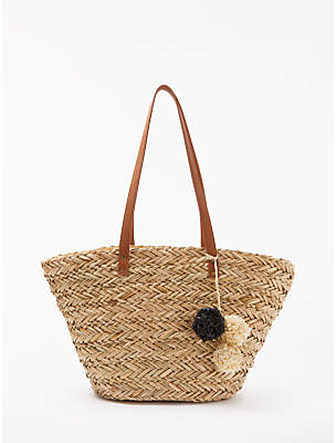 John Lewis Structured Straw Pom-Pom Grab Bag, Mono