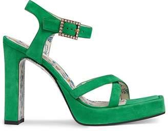 Gucci Women's Crystal-Buckle Suede Platform Sandals
