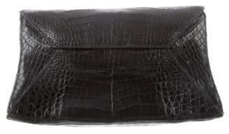 Nancy Gonzalez Crocodile Flap Clutch Black Crocodile Flap Clutch