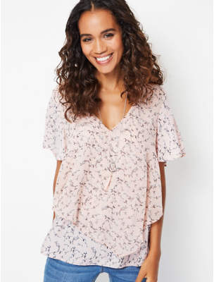 George Pink Floral Blouse with Necklace