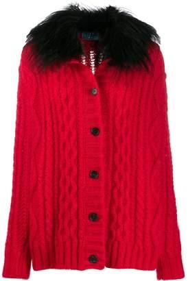 Prada furry collar knitted cardigan