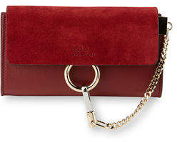 Chloé Faye Suede/Leather Wallet-on-a-Strap