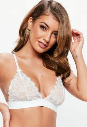 Missguided White Scallop Lace Thick Strap Triangle Bra