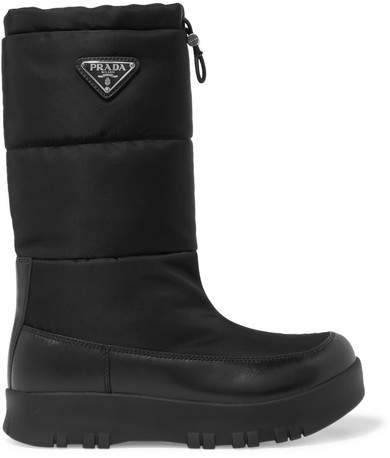 Prada - Leather And Shell Boots - Black