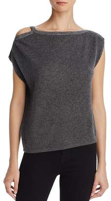 Minnie Rose Studded Cold-Shoulder Cashmere Sweater
