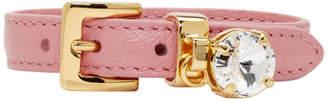 Miu Miu Pink Leather Crystal Bracelet