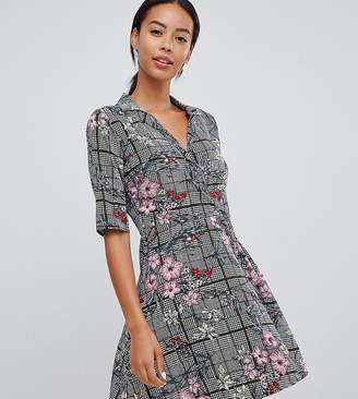 Influence Tall check and floral print wrap dress