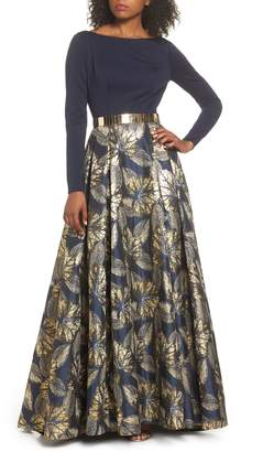 Mac Duggal IEENA FOR  Metallic Waist Print Skirt Gown
