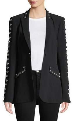 Cinq à Sept Dive Studded Crepe Single-Button Jacket