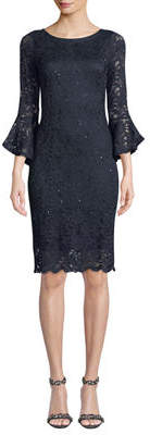 Neiman Marcus Sequined-Lace Bell Sleeve Midi Dress