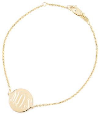 Sarah Chloe Cara Monogrammed Circle Chain Bracelet, Gold