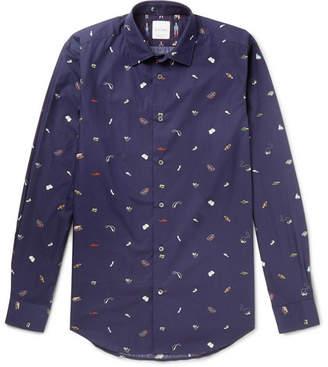 Paul Smith Soho Slim-Fit Printed Cotton-Poplin Shirt - Men - Navy