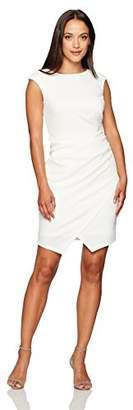 London Times Women's Sleeveless Round Neck Sheath Dress w. Asymetrical Hem
