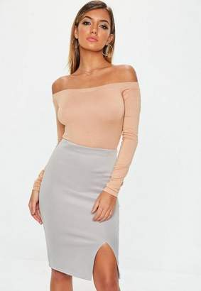 Missguided Grey Scuba Split Midi Skirt