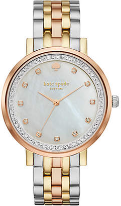 Kate Spade Monterey pave crystal tri-tone stainless steel bracelet watch