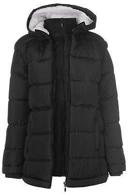 Lee Cooper Womens Long Padded Jacket Coat Top High Neck Hooded Zip Warm