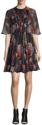 Jason Wu Floral Half-Sleeve Cocktail Dress, Black/Multi $1,695 thestylecure.com
