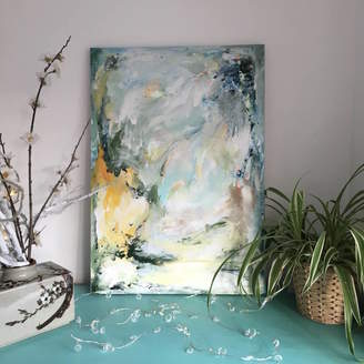 Paint-Me-Happy Art Abstract Pastel Blue Green Painting On Canvas