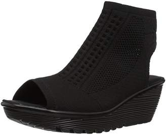 Skechers Women's Parallel-Tight Peep Toe Stretch Knit Wedge Sandal
