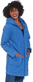 Denim & Co. Fleece Zip Front Jacket with SherpaLining and Hood