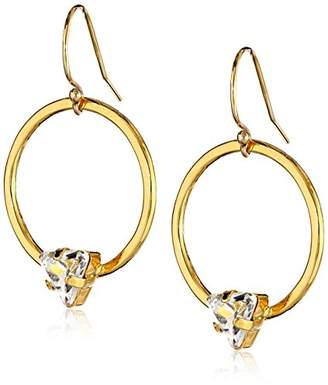 "Kris Nations Angel Fire"" Swarovski Crystal Circle Stone Simple Drop Earrings"