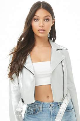 Forever 21 Metallic Faux Leather Moto Jacket