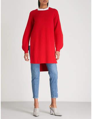 Stella McCartney Side-slit ribbed wool dress