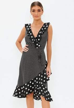 Missguided Black Ruffle Detail Polka Dot Midi Dress
