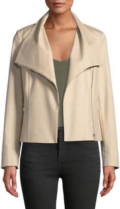 Lafayette 148 New York Cyrilla Perforated-Sleeve Cotton Moto Jacket